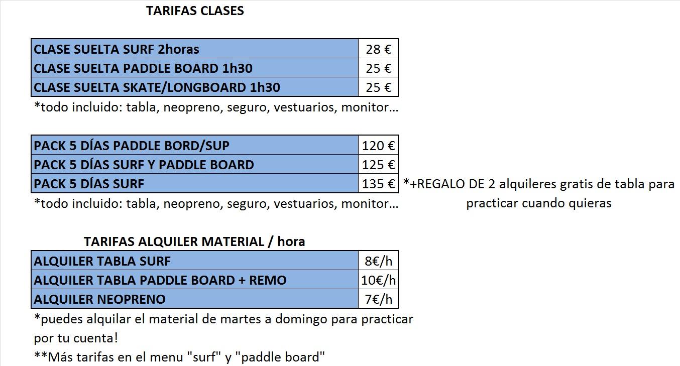 para inscribirte en las clases de surf o paddle manda un mensaje por whatsapp al 678 71 81 71 con tu nombre edad nivel y